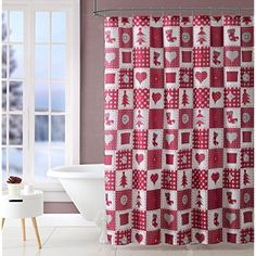 Holiday Country Chic Fabric Shower Curtain: Traditional Tree Heart Button Stocking Chimney Patchwork Design, Red White Burgundy Beige (Shower Curtain) *** To view further for this item, visit the image link. (This is an affiliate link) #Bath