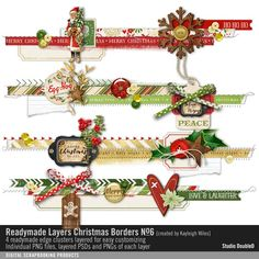 Readymade Layers: Christmas Borders No. 06 border strips of element clusters in layers for easy customizing #designerdigitals