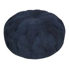 Judson Indigo Cushions at Found Vintage Rentals. Tufted cushion ottoman in indigo upholstery. Great for seating or with a tray as a coffee table.
