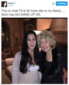 No wrinkles here! Cher tweeted this photo of her and her mother Georgia Holt on Sunday...