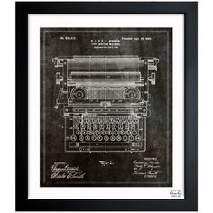 """Oliver Gal Type Writing Machine 1899 Framed Graphic Art Size: 32"""" H x 26"""" W"""