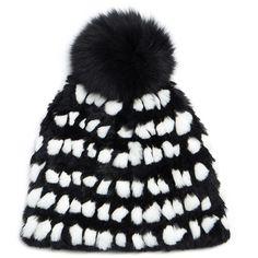 Diane von Furstenberg Monochrome Graphic Pompom Rabbit Fur Hat (305 BRL) ❤ liked on Polyvore featuring accessories, hats, black, slouchy beanie, slouchy beanie cap, oversized beanie hats, rabbit hat and oversized slouchy beanie