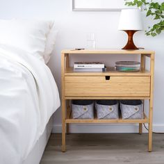 NORDKISA Nightstand, bamboo, Width: 23 A handy companion for storing books, magazines or a glass of water by your bed. Bedroom Furniture, Home Furniture, Bedroom Decor, Bedroom Sets, Furniture Makeover, Painted Furniture, Furniture Design, Bedside Table Ikea, Ikea Hack Nightstand