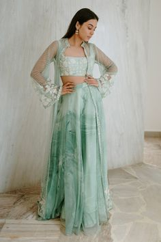 Shop Mishru Chanderi Embroidered Jacket with Lehenga Set , Exclusive Indian Designer Latest Collections Available at Aza Fashions Dress Indian Style, Indian Fashion Dresses, Indian Designer Outfits, Indian Wedding Outfits, Indian Outfits, Indian Attire, Bridal Outfits, Indian Wear, Wedding Dresses