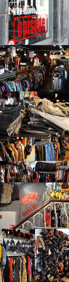 Episode, by far the best vintage shop in Amsterdam. You'll find here the best collection of Levi's cut offs, dip dye shorts, leather stuff, blouses, fur coats...  everything! They sell clothing for men and women (two locations in Amsterdam: waterlooplein 1, berenstraat 1)