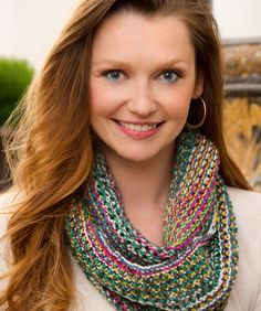 Infinity Cowl Free Knitting Pattern from Red Heart Yarns