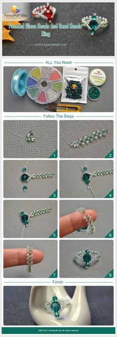 Pandahall Elite DIY faceted glass beads and seed beads ring~
