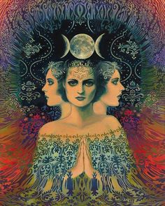 Hecate -Deusa das feiticeiras. Está associada à cura, a profecia, as visões, a magia, a Lua Minguante, os encantamentos, a vingança, a livrar-se do mal, a riqueza, a vitória, a sabedoria, a transformação, a purificação, as escolhas, a renovação e a regeneração.                                                                                                                                                                                 Mais