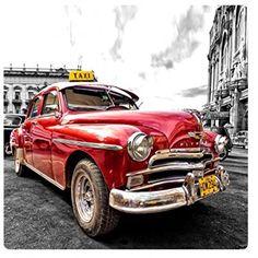 Coches Antiguos – Old Taxi, Cuba Cuadro En Vidrio Acrílico (29 x 29cm) | Joyería online, joyas de Plata y Oro.