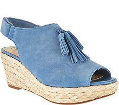 Isaac Mizrahi Live! Suede Wedge Sandals with Tassel