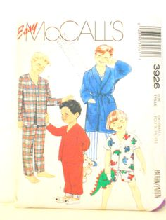 Easy McCalls 3926, Childrens Robe & Pajama Pattern, Size Ex Small 4 - 6, Sewing Pattern