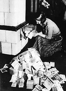 This pictures shows the German Marks, (currency in Germany at the time), was that worthless during hyperinflation that people would just burn the Marks for heating because they could not by fuels like wood or coal.