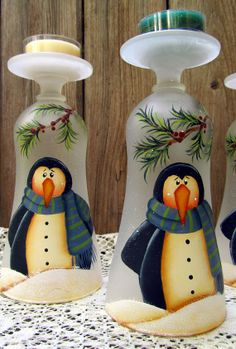 Penguin Glass Tealight Holder Hand Painted Frosted Glass - so cute! Wine Glass Candle Holder, Glass Tea Light Holders, Candle Holders, Hand Painted Wine Glasses, Painted Wine Bottles, Wine Glass Crafts, Wine Bottle Crafts, Christmas Projects, Holiday Crafts