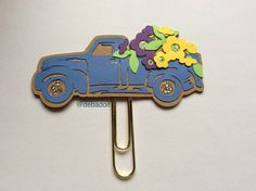 Love this Vintage Pickup Truck even better with flowers in the bed! Debadoit.etsy.com  #pickuptrucks #pickuptruckwithflowers #debadoit #plannerclips