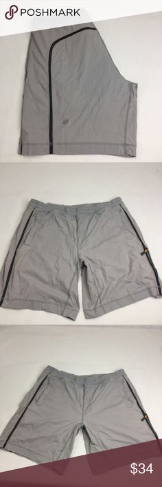 Lululemon Workout Shorts Gray and Striped XL Lined with boxer shorts like briefs. in worn condition. Has a drawstring to tighten and a zipped pocket for keys. Reasonable offers are always welcome! Please no trades 🌸 lululemon athletica Shorts Athletic