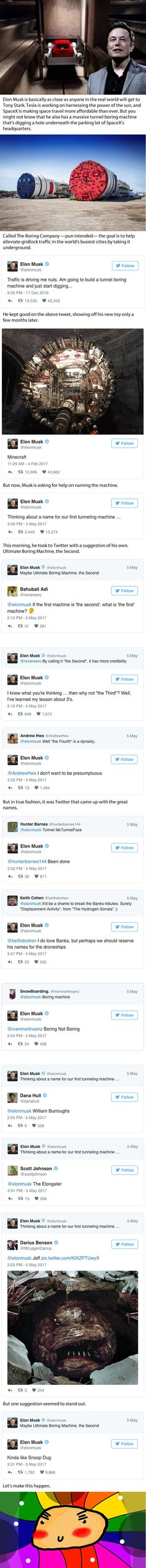 Elon Musk Asked For Help Naming Their First Tunneling Machine And The Internet Obliged