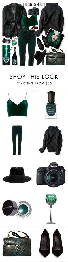 """""""All The World Is Green"""" by ms-wednesday-addams ❤ liked on Polyvore featuring Balmain, Deborah Lippmann, Pierre Balmain, Maison Michel, Eos, Bobbi Brown Cosmetics, Waterford, Gucci and Maison Margiela"""