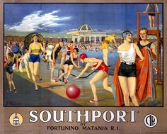 Cheshire Lines Railway poster. Southport by Fortunino MataniaÕ, railway poster, c 1930s.