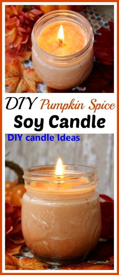 DIY Pumpkin Spice Soy Candle <br> Want a lovely fall scented candle for your home? Skip the expensive brands and the dangerous paraffin and make this DIY pumpkin spice soy candle! Pumpkin Spice Candle, Pumpkin Candles, Fall Candles, Mason Jar Candles, Diy Pumpkin, Diy Candles For Christmas, Candle Wax, Paraffin Candles, Candle Craft