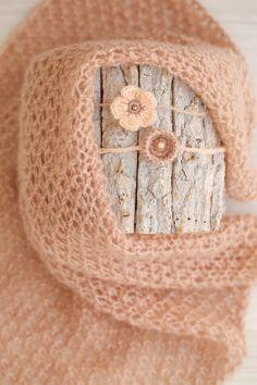 SET Soft Caramel Knit Newborn Wrap & 2 Matching Crochet Tiebacks / Newborn Photography Props / Matching Baby Blanket Set / Wrap Headband Set by SoftButterflyKiss on Etsy
