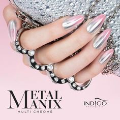 for indigo nails effect holo pinkresult for indigo nails effect holo pink Gorgeous Nails, Pretty Nails, Mettalic Nails, Hair And Nails, My Nails, Crome Nails, Exotic Nails, Indigo Nails, Nail Effects