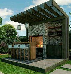 J Outdoor Kitchen Design, Outdoor Kitchens, Parrilla Exterior, Small Outdoor Spaces, Summer Kitchen, Outdoor Living, Outdoor Decor, Easy Garden, Back Gardens