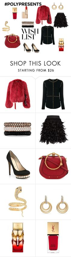 """#PolyPresents: Wish List: Stendhal rules"" by micettes ❤ liked on Polyvore featuring Balmain, Effy Jewelry, Alice + Olivia, Nicholas Kirkwood, Chloé, Iconery Basics, David Yurman, Christian Louboutin, Yves Saint Laurent and Estée Lauder"