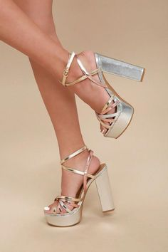 You'll be dance-floor ready the second you slip on the Angelika Silver Multi Platform Heels! Metallic bands of vegan leather in shades gold, silver, and rose gold shapes these strappy platform heels with a toe platform. Two-toned, wrapping ankle strap Silver Heels Prom, Silver Strappy Heels, Prom Heels, Strappy Platform Heels, Ankle Strap Heels, Ankle Straps, Platform Shoes, Stiletto Heels, Fancy Shoes