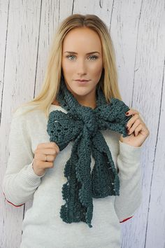 Dusty Teal Oversized Crochet Bow Scarf Long by ThreeBirdNest, $28.00