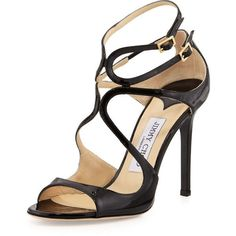Jimmy Choo Lang Patent Strappy Sandal ($835) ❤ liked on Polyvore featuring shoes, sandals, heels, black, high heel shoes, black patent leather sandals, heeled sandals, strap sandals and black heel sandals