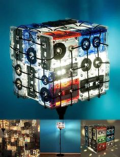 Alternate version of cassette tape lamp (standing lamp as opposed to table top)