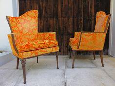 "Pair Of Mid-Century Modern Asymmetrical Arm Chairs By Grosfeld House. ""All Original"""