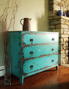 60 ideas for turquoise distressed furniture diy bedrooms Teal Chest Of Drawers, Green Drawers, Refurbished Furniture, Paint Furniture, Repurposed Furniture, Furniture Projects, Furniture Makeover, Furniture Redo, Antique Furniture