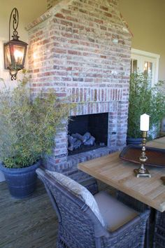 Whitewashed brick - Veranda in HGTV Dream Home Beautiful Room Pictures from HGTV Patio Pictures, Room Pictures, Dream Home 2017, My Dream Home, Fireplace Surrounds, Fireplace Design, Fireplace Ideas, Gas Fireplace, Fireplace Whitewash