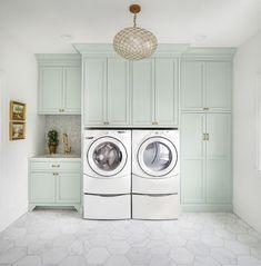 laundry room paint color Farrow Ball Teresa's Green - Laundry Room Mudroom Laundry Room, Laundry Room Remodel, Laundry Room Cabinets, Laundry Room Organization, Laundry Room Design, Diy Cabinets, Custom Cabinets, Laundry Room Floors, Shaker Cabinets