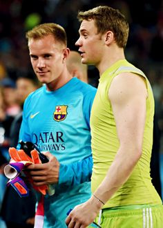 Marc-André ter Stegen with FC Bayern Munich goalkeeper Manuel Neuer after the 1st leg of the UEFA Champions League semifinal match between FC Barcelona and FC Bayern Munich at Camp Nou in Barcelona, Spain on May 6, 2015.