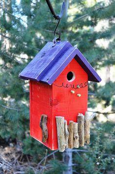 Birdhouse Rustic Functional Birds Decorative Bird House Handmade Painted Wood Cedar Birdhouses Patio, Lawn & Garden Yard Art Free Shipping. $65.00, via Etsy.