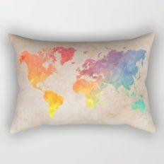 World Map Maps Rectangular Pillow