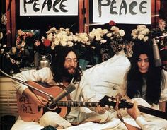 John Lennon and Yoko Ono during Bed-in for Peace, Montreal, June 1969