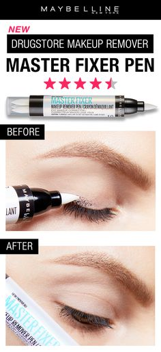 Your new best friend! Our Master Fixer Pen will clean up any makeup mistake quickly and precisely. This makeup remover pen touches up any smudges or marks without leaving behind a greasy feeling. Drugstore Makeup, Makeup Tips, Hair Makeup, All Things Beauty, Beauty Make Up, Beauty Tips, Makeup Mistakes, Eyeliner Pen, Eyeshadow