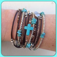 Brown Leather Wrap Bracelet Christian// Turquoise Cross Bohemian Jewelry// Boho Multistrand Stacking Cuff// Choose Four Charms - pinned by pin4etsy.com