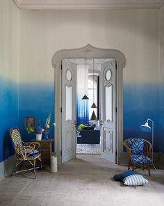 Stunning cobalt block colour fading out to clean off white, Designers Guild