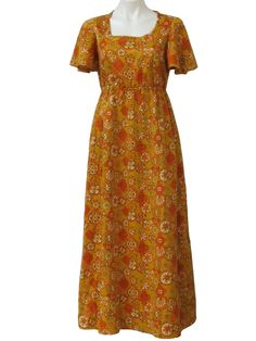 cd1d9e4c 70s -No Label- Womens gold, orange, brown and olive green abstract flower.  1970s ClothingVintage ...