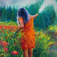 Discover Original Art by Iris Scott   Mama's Garden oil painting   Art for Sale Online at UGallery
