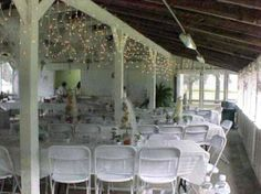 Weddings at va state parks. Chippokes conference shelter setu up for wedding.