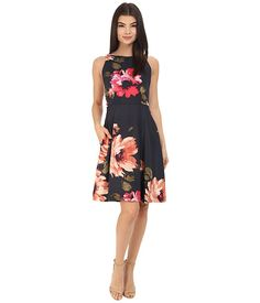 Donna Morgan Sleeveless Printed Twill Fit and Flare