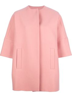 Pink wool blend oversized coat from MSGM featuring a round neck, three-quarter length sleeve, side pockets and a concealed front fastening! Oh la la!!! Shop here http://rstyle.me/~10dCq