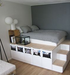 Check out this small bedroom decor idea. Click on image to see more ideas for small rooms.