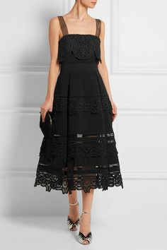 Black ponte and guipure lace Hook and zip fastening at back 99% polyester, 1% cotton; lining: 95% polyester, 5% spandex Hand wash Imported