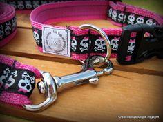 """hot pink preppy punk skulls adjustable dog collar and leash set. 13-20"""""""